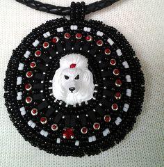 Beaded White Poodle Dog Necklace Pendant