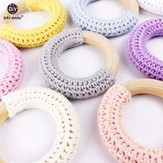 Let's Make Wood Teether Baby Teething 10pc Toy Natural Maple Cotton Wooden Ring Chunky Crochet Ring Teething Ring Baby teether