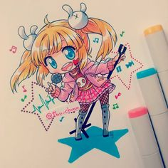 Done!!! Chibi prize for @martinaliu96 Pintadito con copic marker Los marcadores…