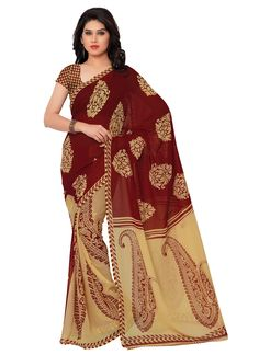 Casual maroon colour printed georgette saree
