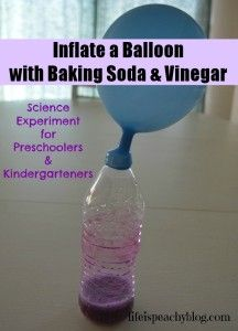 Science Experiment for Preschoolers & Kindergarteners: Inflate a Balloon with Baking Soda and Vinegar | Life is Peachy