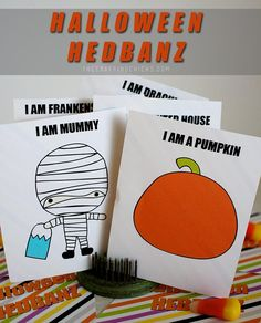 Printable Halloween Hedbanz cards to play with the Hedbanz headband! So much for for class parties!
