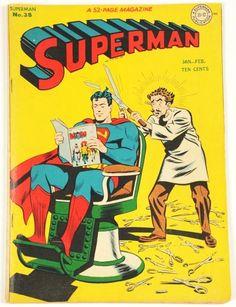 Superman has hard-to-cut hair...love all the broken scissors on the floor...