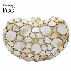 148.88$  Buy now - http://ali88j.worldwells.pw/go.php?t=32758107784 - Natural White Shell Crystal Clutch Evening Bags For Women Wedding Party Dinner Handbags and Purses Bridal Diamond Clutches Bag 148.88$