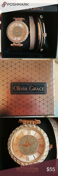 Olivia Grace Rose Gold Tone Watch Set Beautiful Rose Gold Tone Watch Set with 4 bangle bracelets. Watch is a slip on so no need to worry about sizing! Comes just as shown in gift box with lid. olivia grace Jewelry