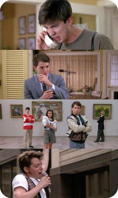 Ferris Bueller's Day Off - Matthew Broderick, Mia Sara, Alan Ruck & Jennifer Grey 90s Movies, Iconic Movies, Classic Movies, Good Movies, Movie Tv, Greatest Movies, Jack White, Farris Buellers Day Off, Movies Showing