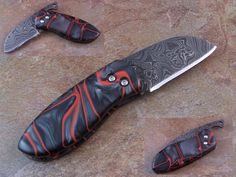 Damascus Friction Folder with Black and Red Kirinite : kahowell1