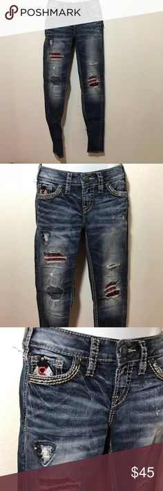 Silver Jean Aiko Mid Super Skinny Patches Plaid Stitching Distressed Silver Jeans Jeans Skinny