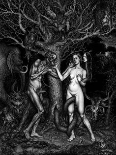 """from serpent to god, from spectre to snake"" Art by Kerbcrawlerghost for ""The Black Dahlia Murder"" Baphomet, Dark Art Illustrations, Illustration Art, Arte Lowbrow, The Black Dahlia Murder, Satanic Art, Snake Art, Gothic Dolls, Creepy Art"