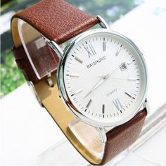 Luxury Men's Ultra-thin Leather Strap Quartz Watch With Business Calendar