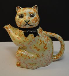 "Ceramic Vintage Maple Ware cat teapot.  Measurement 8"" tall Lustreware Cat от TGALCOLLECTIBLES"