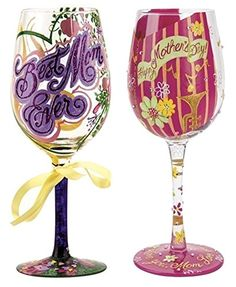 Lolita Wine Glasses - Mom's Set of 2 - Best Mom Ever and Happy Mother's Day
