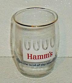 "www.jaedasplaythings.com Hamms Beer Tasting Glass Hamm's Cup Vtg SMALL 3.25"" White Logo #Hamms"