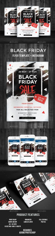 Black Friday Sale Flyer — Photoshop PSD #card #november • Download ➝ https://graphicriver.net/item/black-friday-sale-flyer/18547080?ref=pxcr