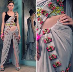 Incredible grey saree with neon detailing like bullets