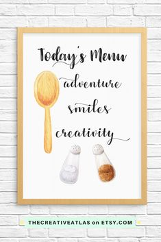 Home Decor, Kitchen Print, Etsy, Today's Menu, motivational, inspirational quotes, digital download, wall art, happiness affirmations, law of attraction, positive, positivity, cafe decor, bakery print