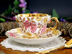 Rosina Chintz Teacup and Saucer, Gold Banded Tea Cup Made in England This is a sweet, heavily gold banded cup with a floral chintz exterior. It is in ok vintage condition. There are no chips, cracks,