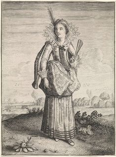 Dirck Hals | Elegante dame met hoofdtooi met veer, Dirck Hals, Jacob Matham, 1619 - 1623 | Staande vrouw in landschap, gekleed volgens de mode van ca. 1620. Ze draagt een kostuum met siermouwen en een verticaal opengeslagen waaiervormige kraag, afgezet met kant. Halsdoek in decolleté van het lijfje, dat met rijen knoopjes is versierd. De rok is opgeslagen. In haar linkerhand een half geopende waaier. In het korte kapsel een haarband met veer.