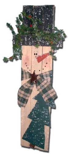 Primitive wood pallet snowman                              …