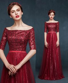 Burgundy Sequin Sparkly Evening Dress With Half Sleeves Boat Neck Long Formal Events Gown Custom Made VP23 487584
