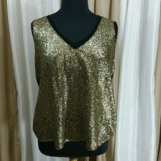 Plus size sequin front tank 1006 Tasteful hi-lo tank with gold sequins galore on front, mesh neck and arm openings, stretch jersey back. Bundle and save! cupio Tops Tank Tops