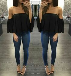 Sexy Off Shoulder Long Sleeve Chiffon Loose Blouse Sexy schulterfreie Langarm Chiffon lose Bluse Look Fashion, Fashion Outfits, Womens Fashion, Fashion Trends, Fashion Ideas, Ladies Fashion, Club Fashion, Cheap Fashion, Fashion Tips