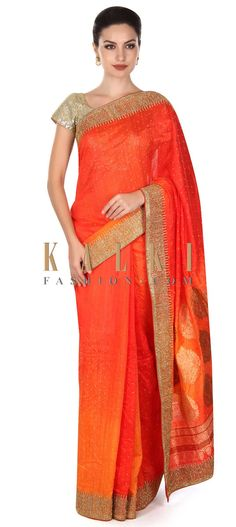 de025a4962 Buy this Orange and coral saree embellished in kundan embroidery only on  Kalki Coral Saree