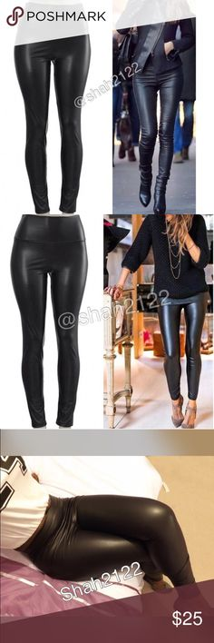 """Black vegan faux leather high waist leggings pants Black Sexy Vegan Faux leather leggings. Perfect fit  High waist Medium weight Lightly soft Fleece-lined These are Very Stretchy Fabric Content : 65% Polyester + 35% Cotton Measurements laying flat Unstretched to stretched (Inseam = 27-28"""") (Total Length= 38-39"""") (Front Rise = 12"""") (Back Rise =14"""")  (Small Waist =11-13"""") (Medium Waist =12-14"""") (LargeWaist =13-15"""") (XL Waist =14- 16 """" ) *Price is firm unless bundled Boutique Pants Leggings"""