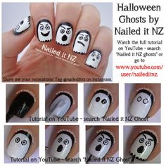 Halloween Nail Art Tutorials - Ghost, Jack-O-Lantern & Skeleton! - Nailed It NZ