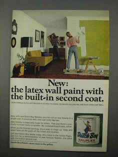 1966 Dutch Boy Nalplex Paint Ad - Built-in Second Coat-This is a 1966 ad for a Dutch Boy Nalplex Paint! The size of the ad is approximately 1960s Interior Design, That Way, Dutch, Ads, Coat, Building, Painting, Sewing Coat, Dutch Language