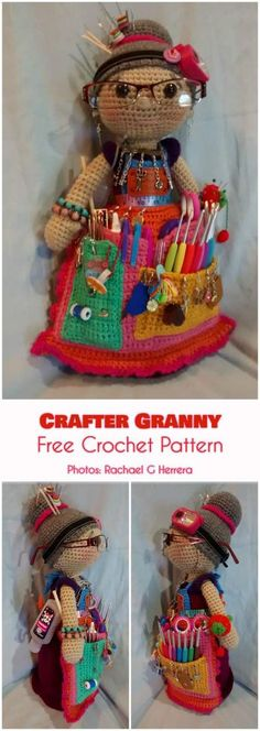 This pattern was created by very talented designers from Zhaya Designs. The Amigurami Granny Doll is everything you need for organizing your craft tools. It is a scissors pocket, pin cushion and hook divider all in one. plus it has a bunch more useful Crochet Gifts, Crochet Dolls, Free Crochet, Granny Dolls, Crochet Stitches, Crochet Patterns, Sewing Patterns, Crochet Designs, Crochet Pincushion