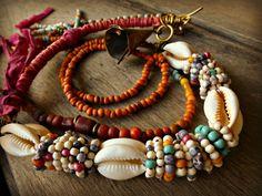 Boho Ethnic Hippie necklace Trade Beads Sari by BeadStonenSkin