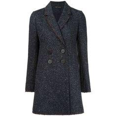 Misha Nonoo Charlotte Coat ($178) ❤ liked on Polyvore featuring outerwear, coats, grey multi, wool & cashmere, slim fit coat, a line coat, tweed wool coat, gray coat and tweed coat
