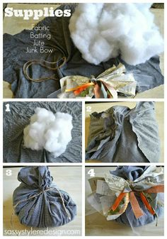 How to make a NO SEW Pumpkin under 5 minutes! I love the page book bow. Autumn Crafts, Autumn Art, Holiday Crafts, Holiday Fun, Holiday Ideas, Halloween Themes, Fall Halloween, Halloween Crafts, Halloween Decorations