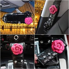 Black Leather Hand Brake & Gear Shift Cover 2-pieces-Set with Pink Camellia