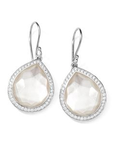 "Stella Teardrop Earrings in Mother-of-Pearl Doublet with Diamonds, 1""L by Ippolita at Neiman Marcus."