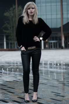 Red Reiding Hood 'M is for Moschino' www.redreidinghood.com     #moschino #letters #belt #knit #knitted #sweater #black #leather #pants #michaelkors #gold #watch #pointy #toes #shoes #outfit #blogger #blog #girl #blond #blonde #full #big #lips #oversized #wearing #ootd