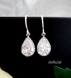 Tear drop Earrings, CZ Cubic Zirconia Jewelry, Birthday, Wedding jewelry, Stone in bezel Silver earrings, Simple $24