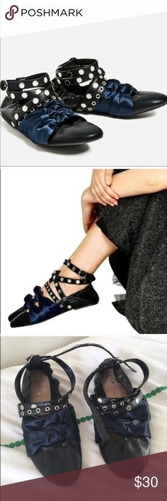 Zara Black Ballerina Flats Zara Black Ballerina Flats. Size 40 (which is a size 10.) Excellent condition. Zara Shoes Flats & Loafers