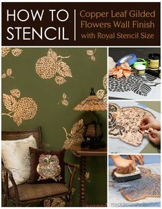 How to stencil with gilding and Royal Stencil Size from Royal Design Studio stencils | Stenciled Wall Finishes