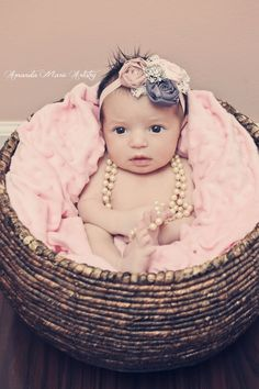 Baby rosette headband. Girls mauve pink and purple with lace and rhinestone headband.  Newborn- adult. $19.00, via Etsy.