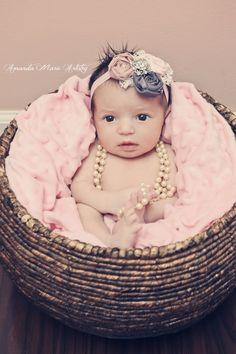 Baby rosette headband. Girls mauve pink and purple with lace and rhinestone headband.  Newborn- adult. $19.00, via Etsy.