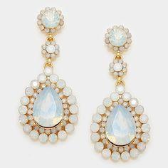 "Crystal rosette teardrop evening earrings Color : Gold, White Opal  • Size : 1"" W, 2.25"" L  • Post back • Crystal rhinestone rosette teardrop evening earrings NYC Chic Accessories Jewelry Earrings"