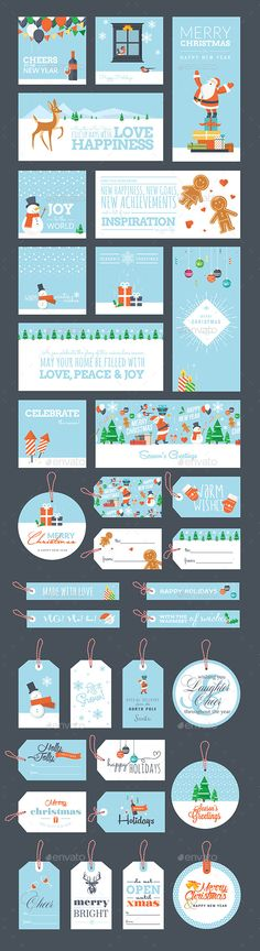 Christmas and New Year Greeting Cards and Tags Template Vector EPS, AI, PSD #design Download: http://graphicriver.net/item/christmas-and-new-year-greeting-cards-and-tags/9425588?ref=ksioks