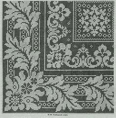 Tischdecke---can also do in filet crochet Filet Crochet Charts, Crochet Borders, Crochet Cross, Crochet Diagram, Crochet Home, Cross Stitch Borders, Cross Stitch Charts, Cross Stitch Designs, Cross Stitching