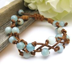 Leather Bracelet. Beautiful bracelet with cording knotted between amozonite round beads.
