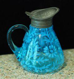 *FENTON ART GLASS/WRIGHT:    Antique Daisy and Fern Aqua Syrup Pitcher.