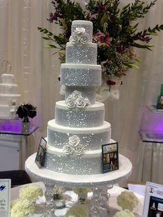 Tammy Allen Cakes of Houston, TX.Beautiful Wedding Cake with Sparkling Bling Bling Wedding Cakes, Bling Cakes, Wedding Cake Toppers, Wedding Sweets, Sparkle Wedding, Gorgeous Cakes, Pretty Cakes, Cute Cakes, Sweet Cakes
