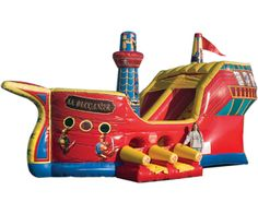 Infaltable Buccaneer Pirate Ship Combo. Not your regular bounce house! Jump, Climb & Slide in this awesome inflatable Pirate Ship for your next Pirate Party! Atlanta party rentals 770-529-0053 Available from ASTRO JUMP - ATLANTA