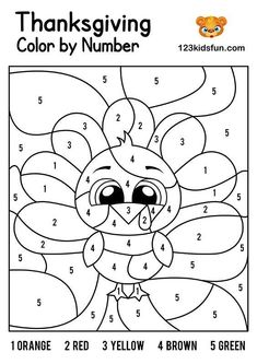 FREE Thanksgiving Color by Number, Coloring Pages for Kids Printable. Kids learning color and numbers. Best activities for Toddlers and preschoolers. Free Thanksgiving Printables, Thanksgiving Activities For Kids, Autumn Activities, Thanksgiving Ideas, Free Thanksgiving Coloring Pages, Thanksgiving Decorations, Thing 1, Preschool Activities, Kids Printable Activities